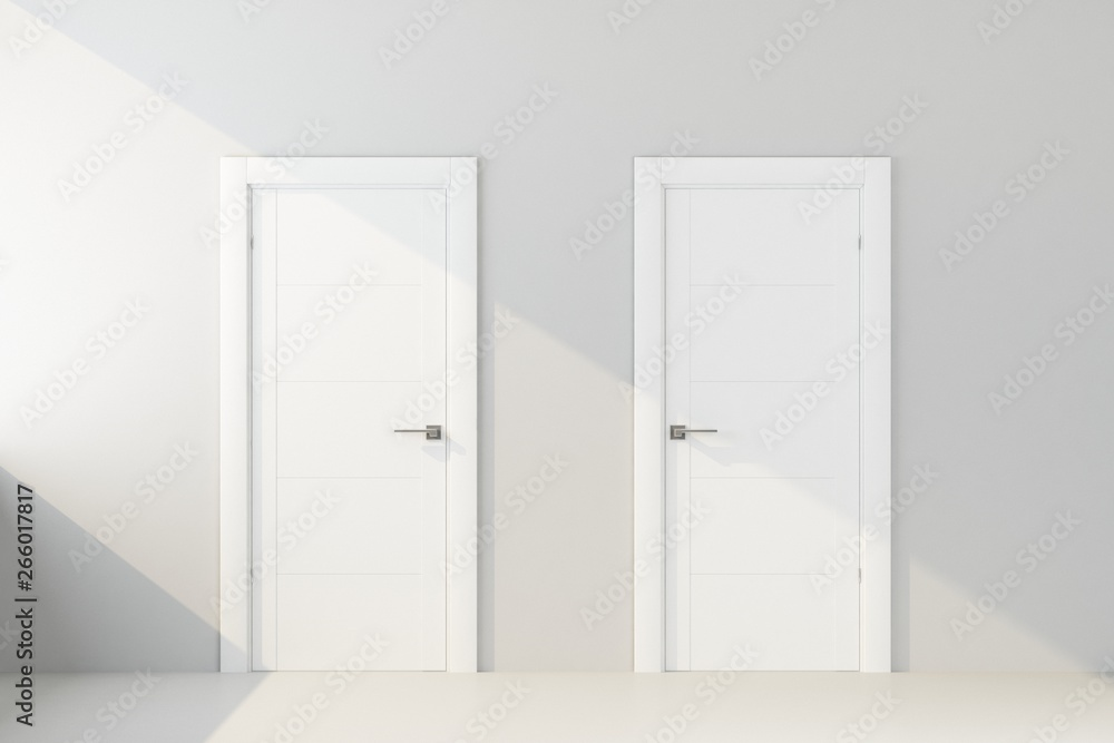 Fototapety, obrazy: two white door in white wall