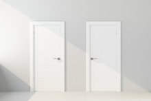 Two White Door In White Wall