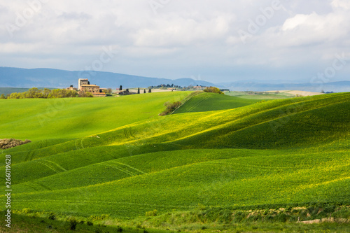 Crete Senesi green hills in Tuscany