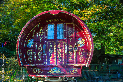 The end on shot of a Gypsy Caravan, Grasmere, Cumbria England 6 October 2018 showing the intricate decoration in paint Wallpaper Mural