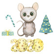 Cute watercolor rat isolated on white background. Mouse symbol 2020 new year