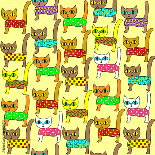 Seamless pattern. Bright cute kittens. Suitable as wallpaper in the children's room, as a gift wrapping for children and adults. Creates a festive mood. Vector illustration