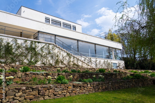Villa Tugendhat by architect Ludwig Mies van der Rohe built in 1929-1930, modern functionalism architecture monument, UNESCO World Culture Heritage site in Brno, Czech Republic.