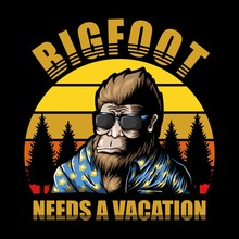 Bigfoot Vacation Sunset Vector Illustration