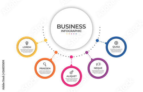 Fototapeta Business infographic template. Timeline concept for presentation, report, infographic and business data visualization. Round design elements with space for text obraz