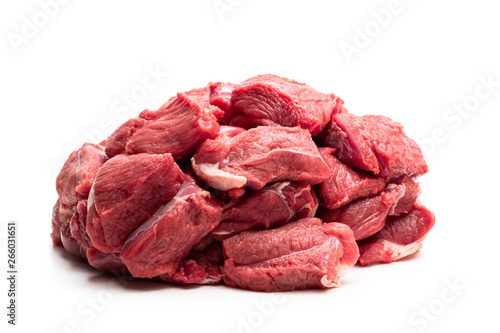 Boneless lamb steak meat isolated on white Canvas Print