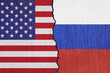 flags United States and Russian painted on the wall -