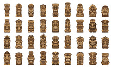Tiki Idols Icons Set. Cartoon ...