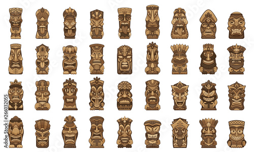 Obraz Tiki idols icons set. Cartoon set of tiki idols vector icons for web design - fototapety do salonu