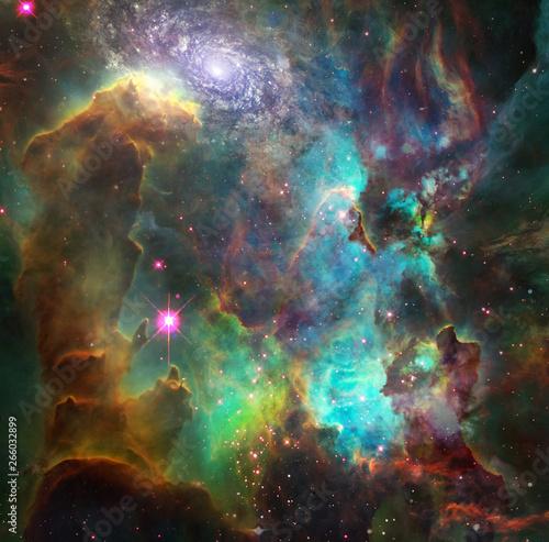 Fotografie, Obraz Vivid nebula and galaxy