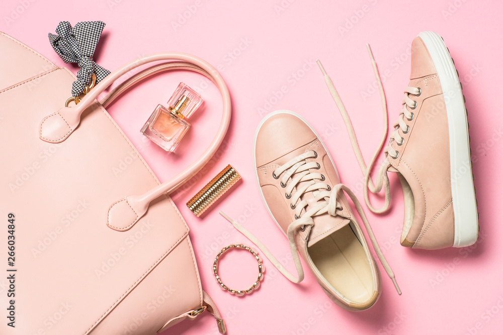 Fototapety, obrazy: Woman flat lay background on pink.