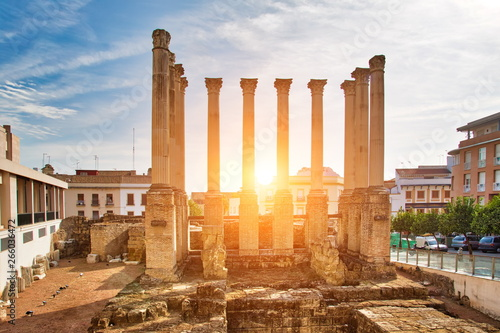 Columns and ruins of the Roman Temple located in city of Cordoba, Andalusia, Spain