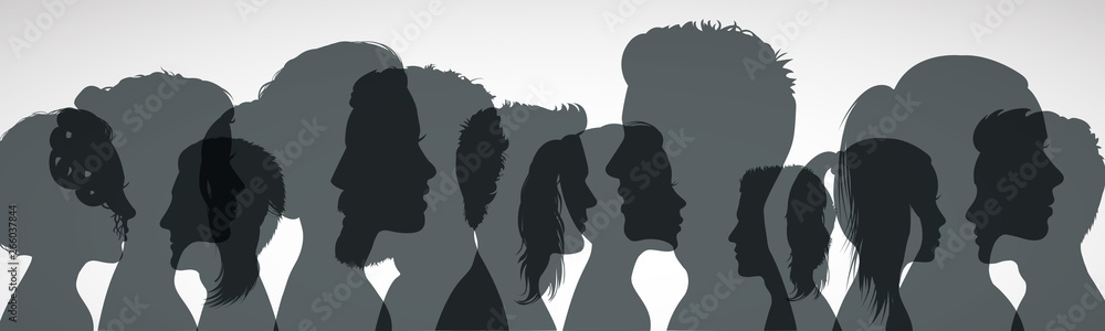 Fototapeta Group young people. Profile silhouette faces girls and boys – vector for stock