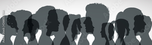 Obraz Group young people. Profile silhouette faces girls and boys – vector for stock - fototapety do salonu
