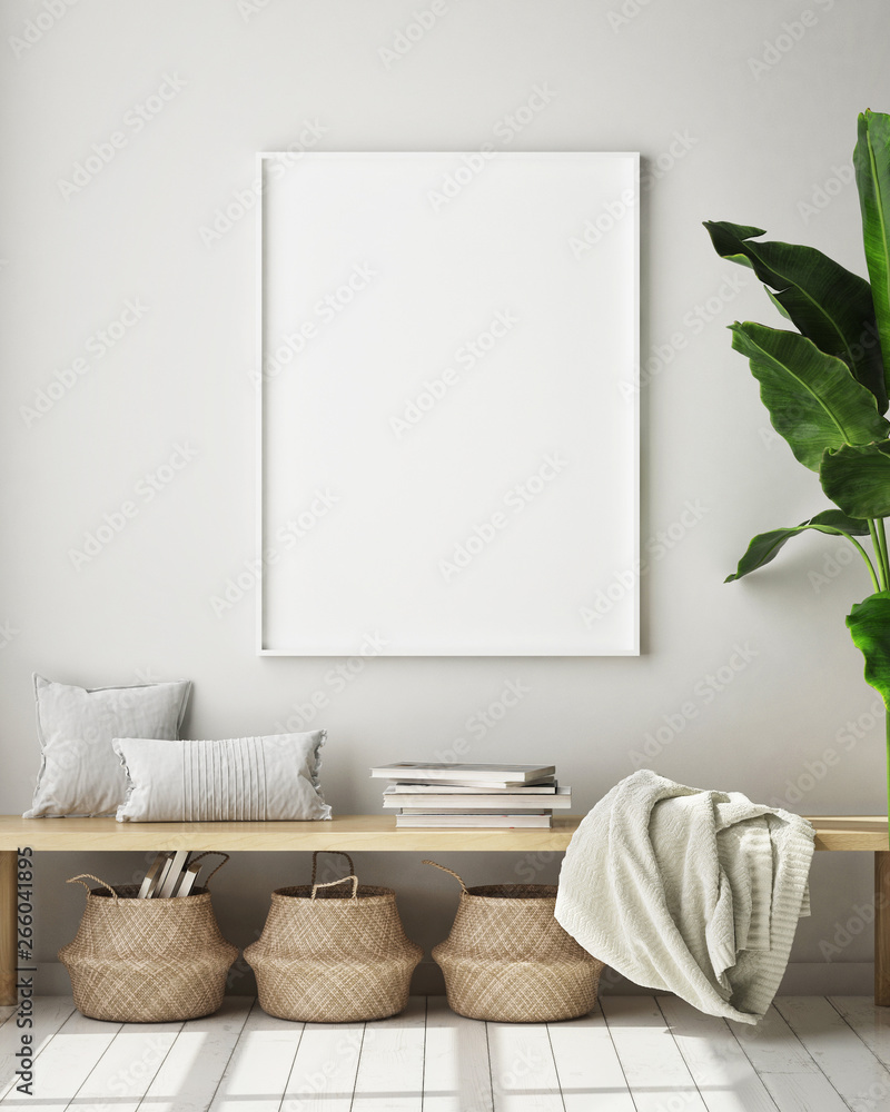 Fototapety, obrazy: mock up poster frame in modern interior background, living room, Scandinavian style, 3D render, 3D illustration