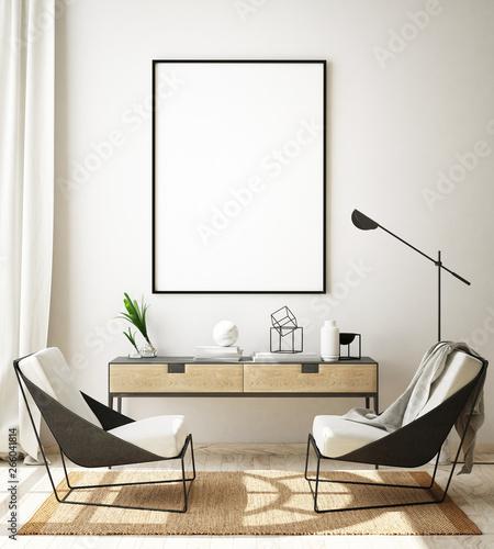 Photo  mock up poster frame in modern interior background, living room, Scandinavian st