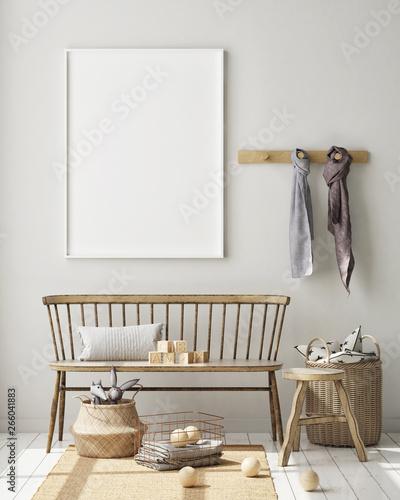 Cadres-photo bureau Pierre, Sable mock up poster frame in children bedroom, Scandinavian style interior background, 3D render, 3D illustration