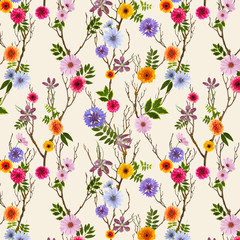 Fototapeta Łąka adorable floral wallpaper, seamless pattern with summer flowers, can be used as background
