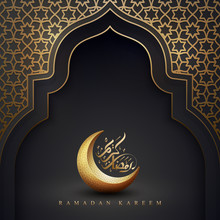 Ramadan Kareem Background With A Combination Of Geometric Pattern, Crescent Moon And Arabic Calligraphy. Islamic Backgrounds For Posters, Banners, Greeting Cards And More.