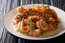Crunchy Shrimp With Honey, Candied Walnut, And Sweet Mayo Close-up. Horizontal