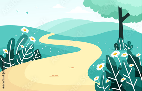 Photo Stands Turquoise Beautiful scenery with a path on a hill