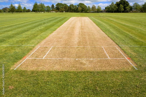 Fotografía Cricket pitch sport grass field empty background