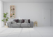 Interior mock up with gray velvet sofa in living room with white wall. 3D rendering.