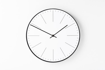 Round wall clock on white background. Minimal creativity concept