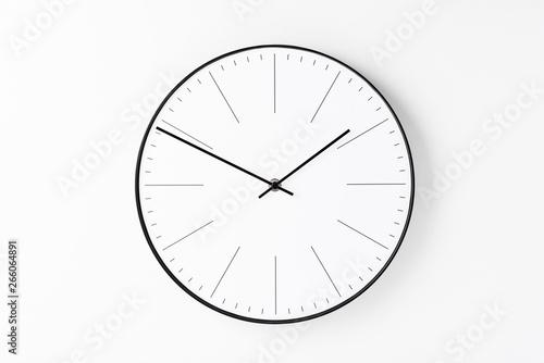 Fototapeta Round wall clock on white background. Minimal creativity concept obraz