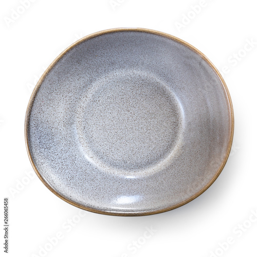 Empty Stoneware Dish Top View Isolated on White Fotobehang