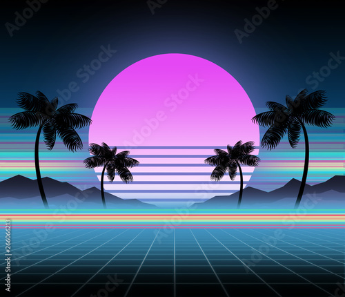 Synthwave and retrowave background template  Palms, sun and space in