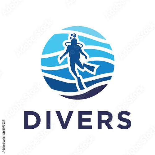 Fototapeta scuba diving flat logo
