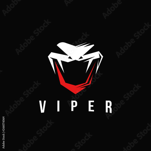 Fotografija Aggresive powerful viper snake logo vector, letter v viper logo on black backgro