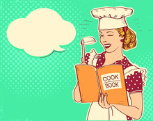 Retro Young Woman Chef Holding Cook Book In Her Hand On Kitchen Room. Pin Up Color Style Illustration With Speech Bubble For Text