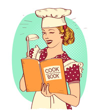 Retro Young Woman Chef Holding...