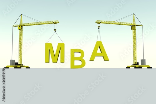 Photo  MBA building concept crane white background 3d illustration