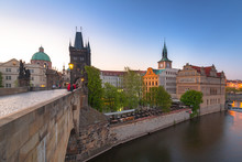 Colorful Old Town In Prague At The Vltava River, Czech Republic