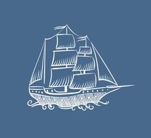 Vintage Boat Sketch. Hand Drawn Old Pirate Sea Sailboat Vector Doodle Sail Schooner Ship Illustration On White Background