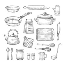Sketch Kitchen Tools. Cooking Utensils Hand Drawn Kitchenware. Doodle Chef Equipment Vector Set. Illustration Of Kitchenware Equipment For Cooking