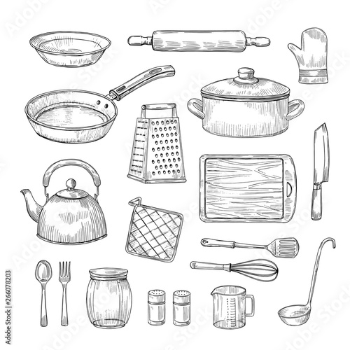 Fotomural Sketch kitchen tools