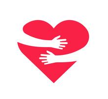 Hugging Heart. Hands Holding H...