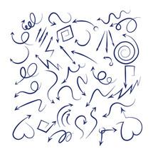 Doodle Arrows Set. Sketch Swir...