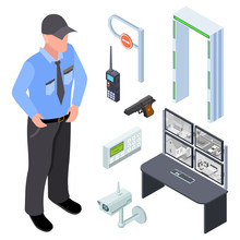 Inventory Of Police, Security, Checkpoint Isometric Vector Set. Illustration Of Isometric Security Police Control, Device For Monitoring