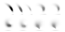 Set Of Halftone Dots Curved Gr...