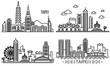Taipei banner set. Outline set of taipei vector banner for web design