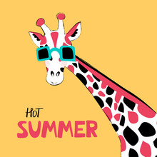 Giraffe Flat Hand Drawn Vector Characters. Cute African Animal Cartoon Character. Bright Poster With A Giraffe In Glasses With Lettering. Kid Book, T-shirt, Travel Postcard Design. Vector