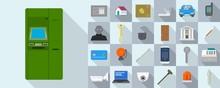 Burglar Icons Set. Flat Set Of...