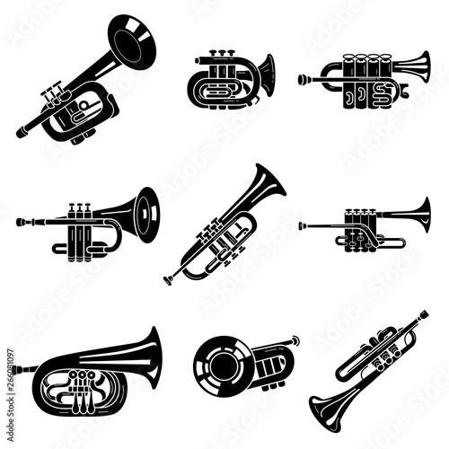 Trumpet icons set Fototapeta