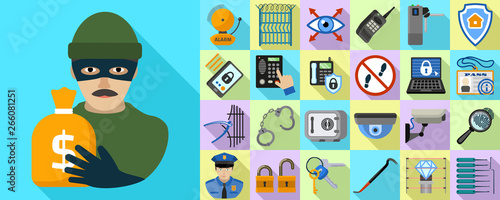 Canvas Print Burglar icons set