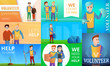 Modern volunteering banner set. Cartoon illustration of modern volunteering vector banner set for web design